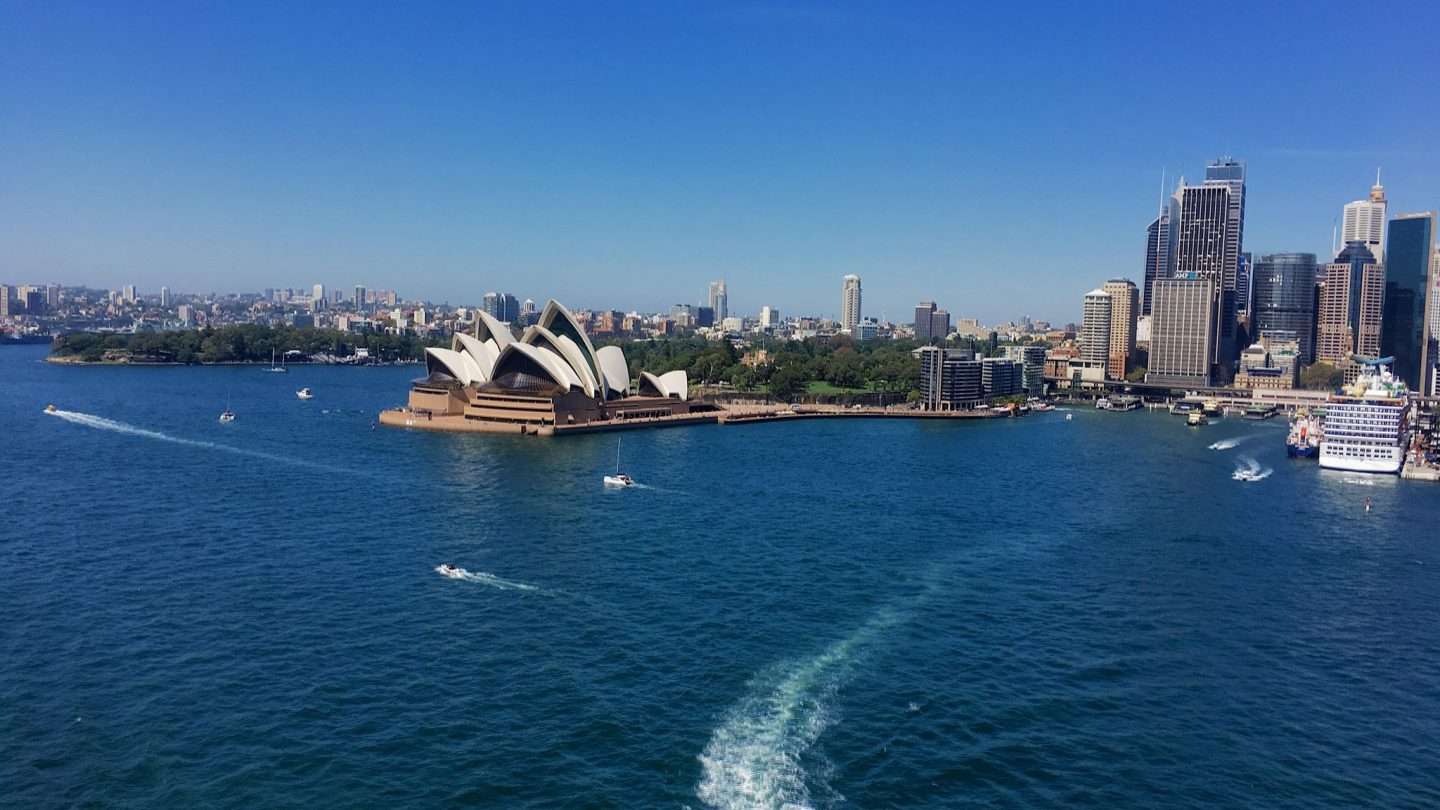 Sydney Harbour seen from the Sydney habrour Bridge Walk