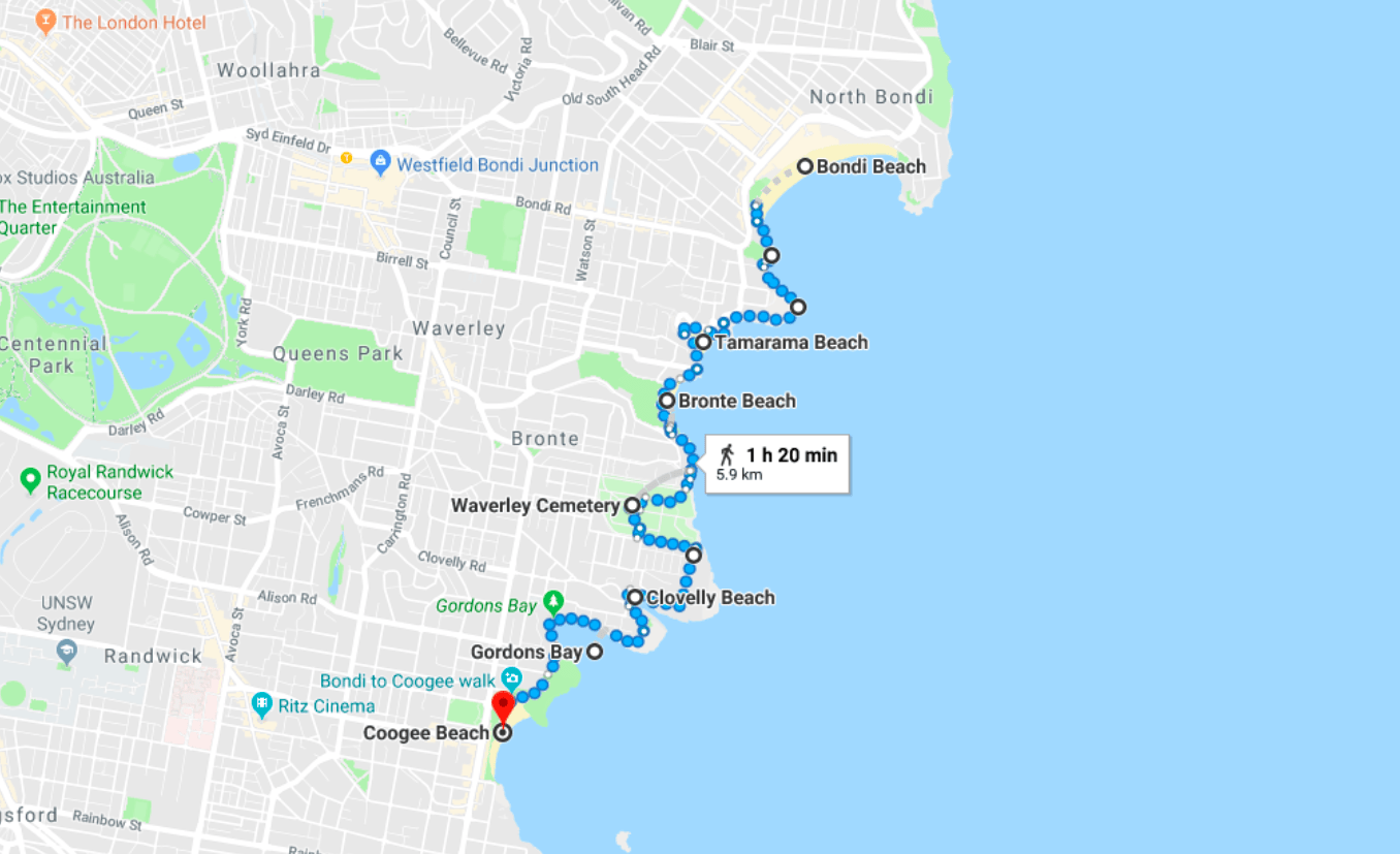 map Bondi to Coogee Walk